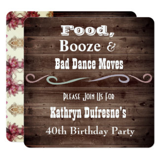 """Bad Dance Moves"" Rustic Floral Birthday Invite"