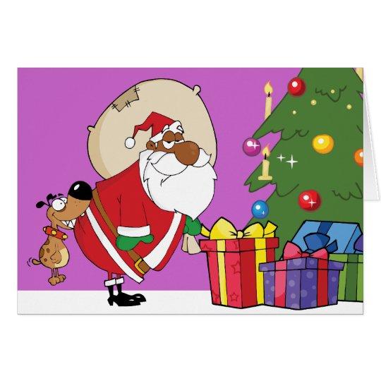 Bad Dog Bites Black Santa on the Butt Card