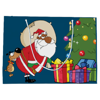 Bad Dog Bites Black Santa on the Butt Gift Bag