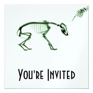 Bad Dog X-ray Skeleton in Green 13 Cm X 13 Cm Square Invitation Card