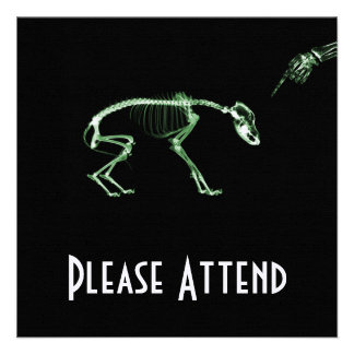 Bad Dog X-ray Skeleton in Green Personalized Invitation