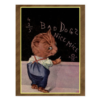 Bad dogs -  vintage cat illustration postcard