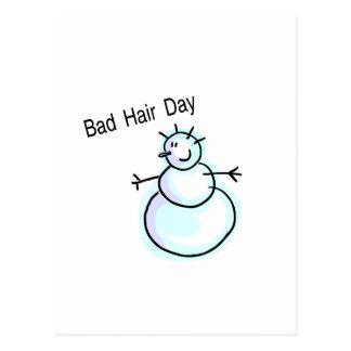 Bad Hair Day Snowman Postcard