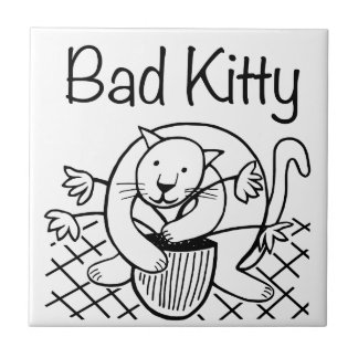 Bad Kitty 2 Small Square Tile