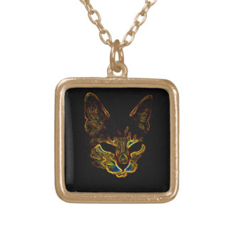 Bad Kitty kitty Square gold Necklace