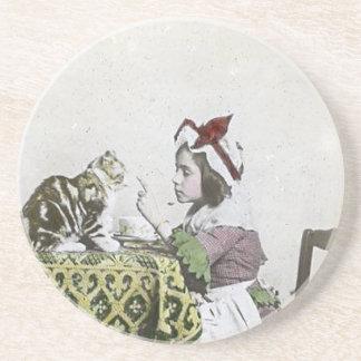 Bad Kitty Victorian Tea Party Vintage Little Girl Coaster