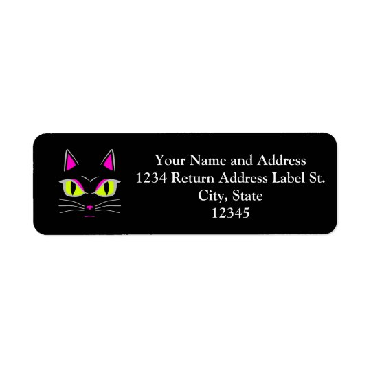 Bad Mad Black Kitty Cat Halloween Return Address Label