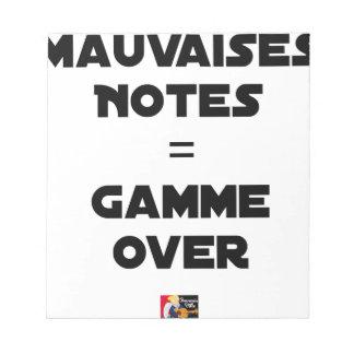 BAD MARKS = RANGE OVER - Word games Notepad