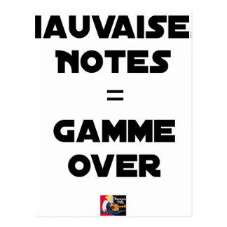 BAD MARKS = RANGE OVER - Word games Postcard