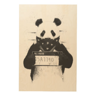 Bad panda wood wall decor