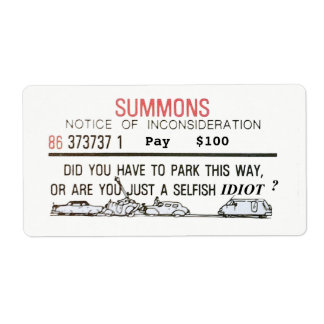 Bad Parking Summons Shipping Label