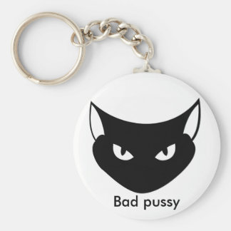 Bad pussy basic round button key ring