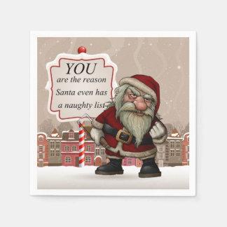 Bad Santa, White Standard Cocktail Paper Napkins