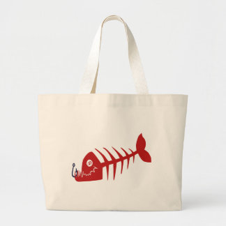 Bad Skull Fish Network Large Tote Bag