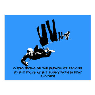 Bad taste but funny skydiving postcard