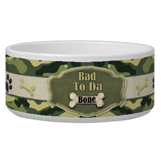 Bad To Da Bone Camo Dog Dish - Customize