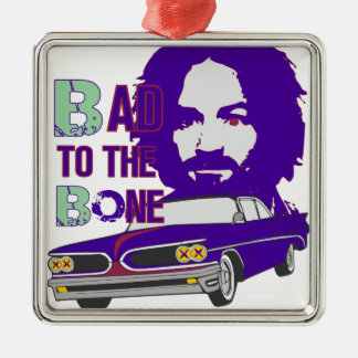 bad to the bone 2 Silver-Colored square decoration