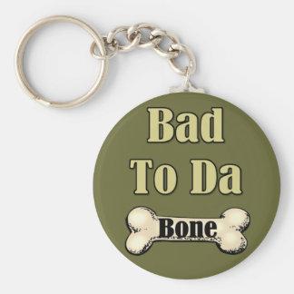 Bad To The Bone Basic Round Button Key Ring