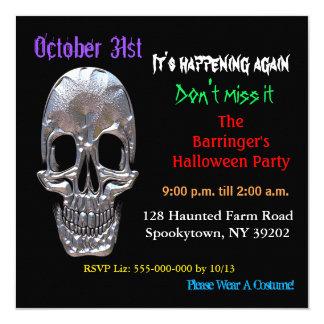 Bad to the Bone Skull Halloween Square Invitation