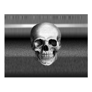 Bad TV Skull Black & White Postcard