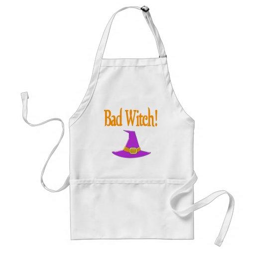 Bad Witch! Purple Hat Halloween Design Aprons