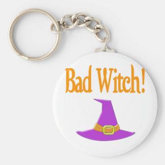 Bad Witch! Purple Hat Halloween Design Basic Round Button Key Ring