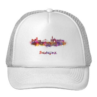 Badajoz skyline in watercolor cap