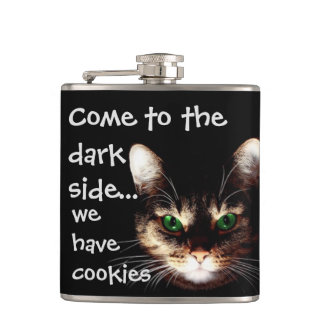"Badass Cats - ""The Dark Side Has Cookies"" Hip Flasks"