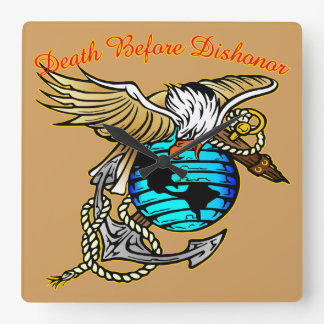 Badazz Eagle Death Before Dishonor Square Wall Clock