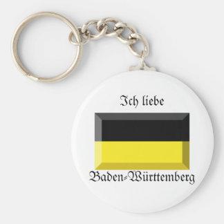 Baden-Wuerttemberg Flag Gem Basic Round Button Key Ring