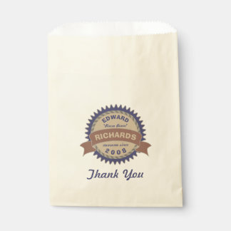 Badge Banner Monogram Brown Blue Birthday Logo Favour Bag