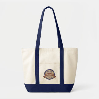 Badge Banner Monogram Brown Blue Birthday Logo Tote Bag