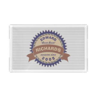 Badge Banner Monogram Brown Blue Logo Gray Stripes Acrylic Tray