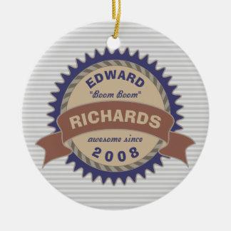 Badge Banner Monogram Brown Blue Logo Gray Stripes Ceramic Ornament
