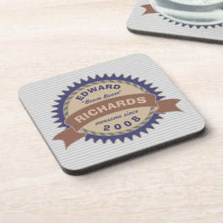 Badge Banner Monogram Brown Blue Logo Gray Stripes Coaster