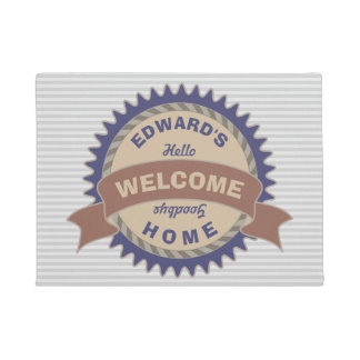 Badge Banner Monogram Brown Blue Logo Gray Stripes Doormat