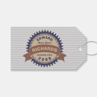 Badge Banner Monogram Brown Blue Logo Gray Stripes Gift Tags