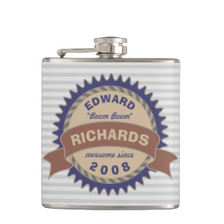 Badge Banner Monogram Brown Blue Logo Gray Stripes Hip Flask