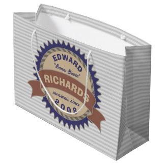 Badge Banner Monogram Brown Blue Logo Gray Stripes Large Gift Bag