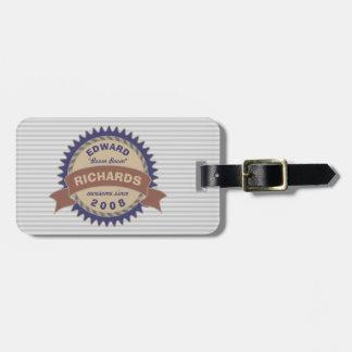 Badge Banner Monogram Brown Blue Logo Gray Stripes Luggage Tag