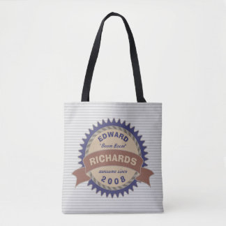 Badge Banner Monogram Brown Blue Logo Gray Stripes Tote Bag