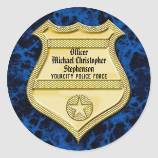 Badge Marble Police Graduation/Retirement Party Classic Round Sticker
