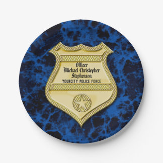 Badge Marble Police Graduation/Retirement Party Paper Plate