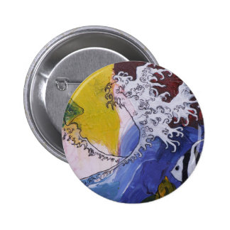 Badge of a painting inspired by Hokusai