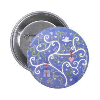Badge or button with Dove and Swirly Tree Design