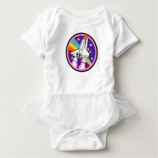 badge patch pink rainbow rocket baby bodysuit