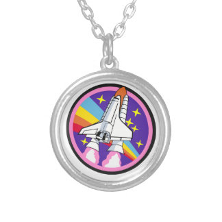 badge patch pink rainbow rocket silver plated necklace