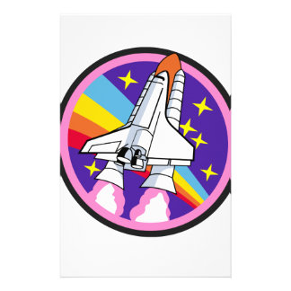 badge patch pink rainbow rocket stationery