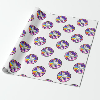 badge patch pink rainbow rocket wrapping paper