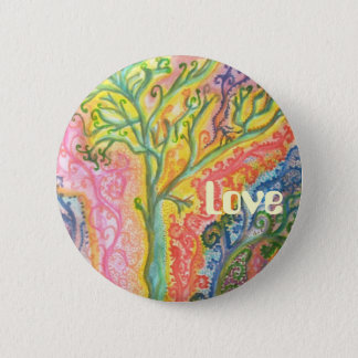 "Badge with Colourful Tree Design and ""Love"""